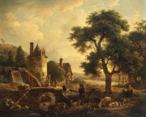 Water-mill-De-Marne-Jean-Louis-oil-painting-1