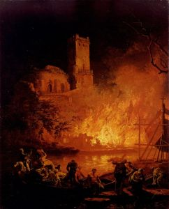 A-River-Landscape-With-Figures-Fleeing-A-Burning-City-by-Pierre-Jacques-Volaire